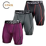 SILKWORLD Men's 3 Pack Running Tight Compression Shorts, Black(Red Stripe), Grey, Maroon, S