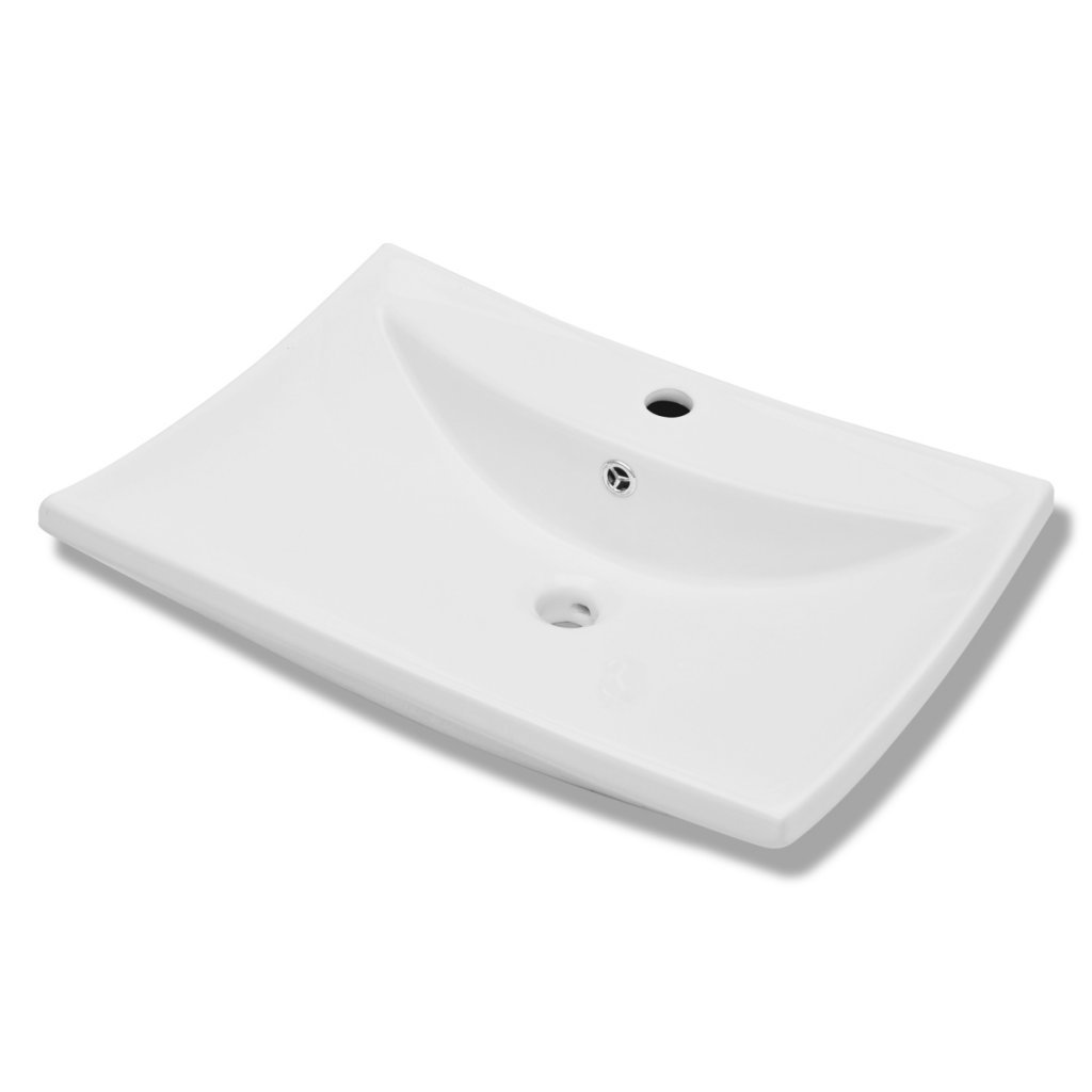 Daonanba Fashion Luxury Ceramic Basin Rectangular with Overflow and Faucet Hole