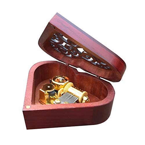Bankour Play (What a Wonderful World) Wooden Hollow Out Heart Shape Music Box with Sankyo Musical Movement