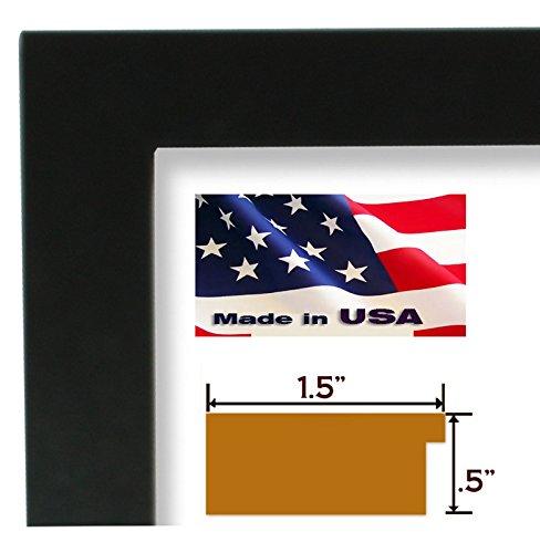 US Art 20x30 Custom 1.5 Inch Wide Black Satin Flat Picture/Poster Frame Wood Composite Elegant Contemporary Moulding