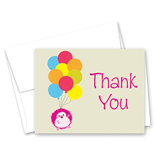 50 Little Creature Groundhog with Balloons (Pink) Thank You Cards -