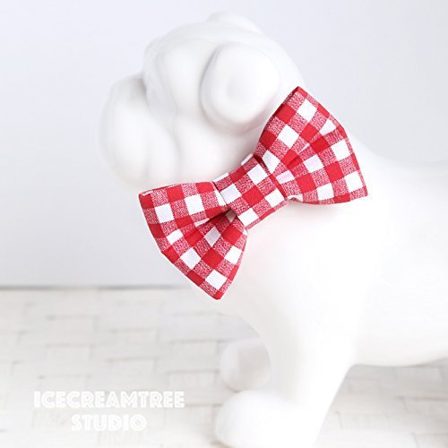 Red Gingham Check - Bow Tie Collar Slide On, Collar Add On Bowtie, Bow Collar Accessories
