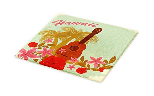 Lunarable Vintage Hawaii Cutting Board, Soft Colored Poster Design Musical Instrument Hibiscus and Tropical Flowers, Decorative Tempered Glass Cutting and Serving Board, Large Size, Multicolor by Lunarable
