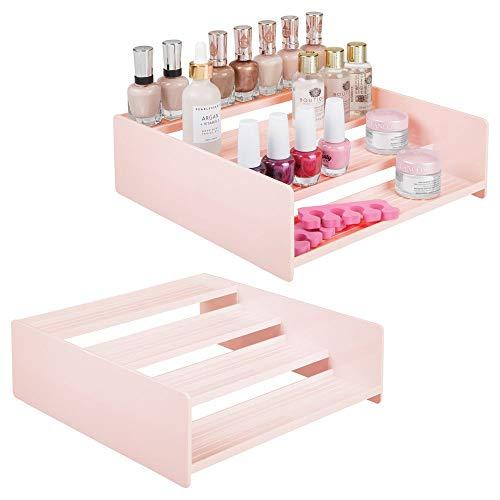 mDesign Plastic Bathroom Storage Organizer Shelf for Cabinet, Vanity, Countertop - Holds Vitamins, Supplements, Medicine, Essential Oils, Nail Polish, Cosmetics - 4 Levels, 2 Pack - Light Pink/Blush