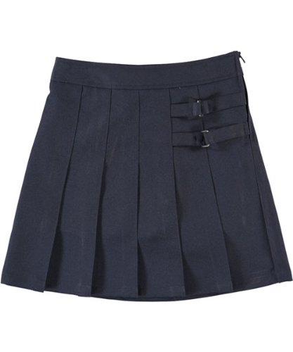French Toast Big Girls Pleated Scooter with Side Buckle Accent - navy, 8 X9103-E