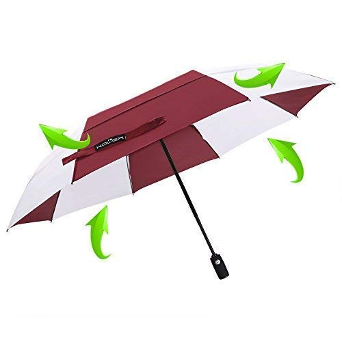QWZNL Travel Umbrella Windproof Auto Open Close Double Canopy 46 Inch Large Folding Golf Umbrella, Compact Lightweight Portable and Wind Resistant, 8 Ribs (Black-White)(Red-White),Red -