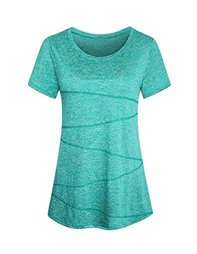 Kimiee Womens Long Sleeve Cowl Neck Casual Sweatshirt Pullover Workout Tunic Tops (XL, Short Sleeve Light Green) ()