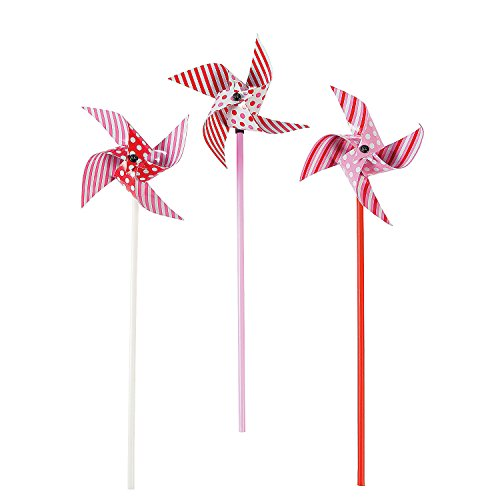 Fun Express - Dots and Stripes Valentine Pinwheels for Valentine's Day - Toys - Value Toys - Pinwheels - Valentine's Day - 36 Pieces