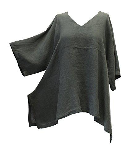 Match Point Women's Camo Green Linen Kimono Tunic Oversized Plus Size (1X)