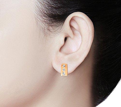 Libertini Boucle d'oreille argent 925 plaque or Rose serti de Diamant en forme de Bâton