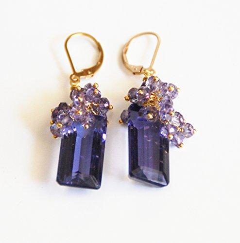 Gorgeous Iolite Blue Quartz Briolette And Iolite Blue Quartz Rondelles Cluster Dangle Drop Earrings -Blue Earrings