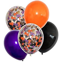 """FindFun 11"""" Halloween Orange Black and Purple Balloons Pack Prefilled With Gold Orange Purple and Black Confetti For Halloween Decor(Pack of 12)"""