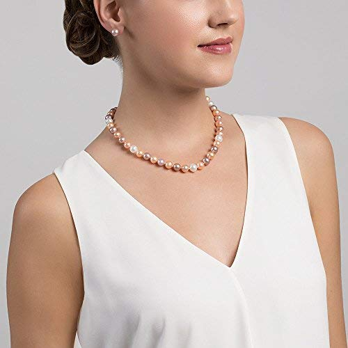 THE PEARL SOURCE 14K Gold 9-10mm AAAA Quality Multicolor Freshwater Cultured Pearl Necklace for Women in 17 Princess Length