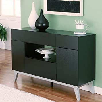 Miura Modern Multi Storage Black Dining Room Buffet Cabinet Table