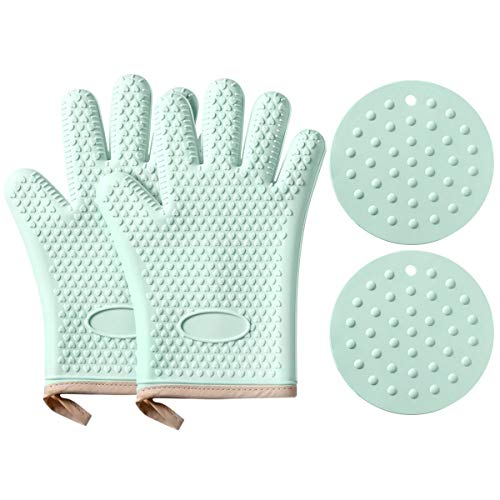Aogist Silicone Cooking Gloves with 2 Oven Mitts Set - Heat Resistant Oven Mitt for Grilling, BBQ, Kitchen - Safe Handling of Pots and Pans - Waterproof Non-Slip Potholder with Cotton Lining