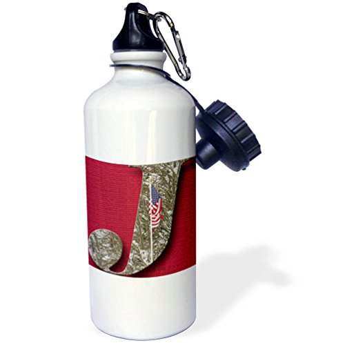 3dRose Jos Fauxtographee- Alphabet J - The Letter J on a red backdrop with an American Flag on it - 21 oz Sports Water Bottle (wb_280036_1)
