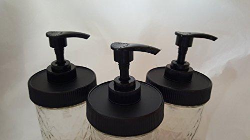 3 Black Matte Plastic Lids with Liner & Pump - Regular/Standard Mason Jar Lotion/Soap dispenser Lid