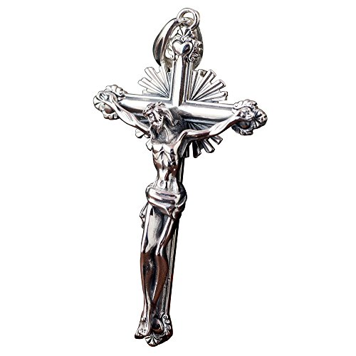 (Vintage Big 925 Sterling Silver Jesus Christ Crucifix Cross Necklace Pendant for Men Women)