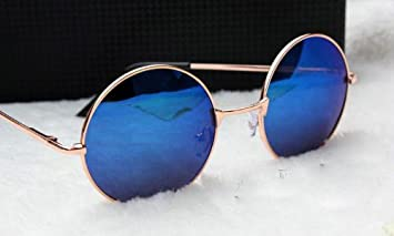 7e84e003bea Image Unavailable. Image not available for. Color  Women s Hippie Shades  Hippy 60 S 70 S Vintage Round Sunglasses (Gold Frame Blue Lens)
