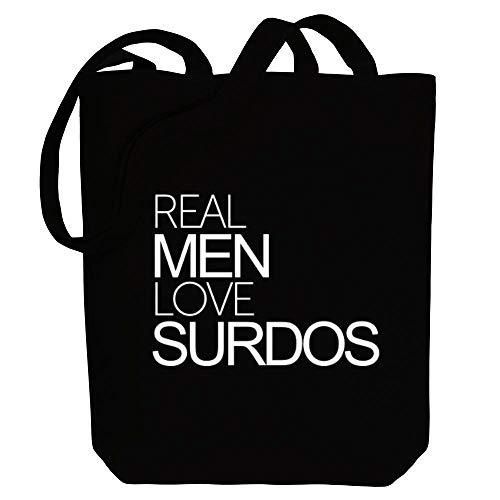 Idakoos Real men love Surdos Bold Canvas Tote Bag 10.5