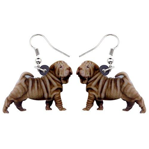 NEWEI Acrylic Sweet Shar Pei Dog Earrings Drop Dangle Fashion Jewelry For Women Girl Gift Charms