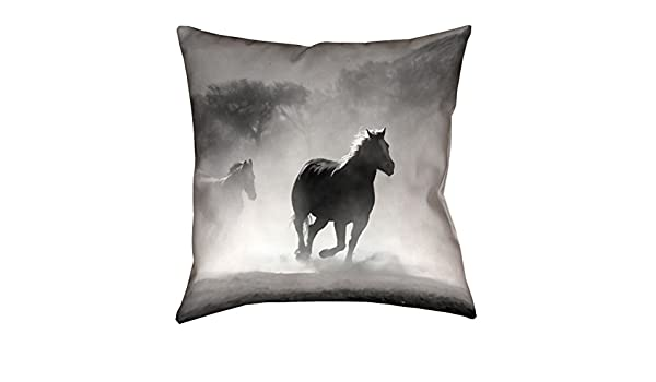 Double Sided Print with Concealed Zipper /& Insert Updated Fabric ArtVerse Bhakti Iyata Galloping Horses x Pillow-Faux Linen 18 x18