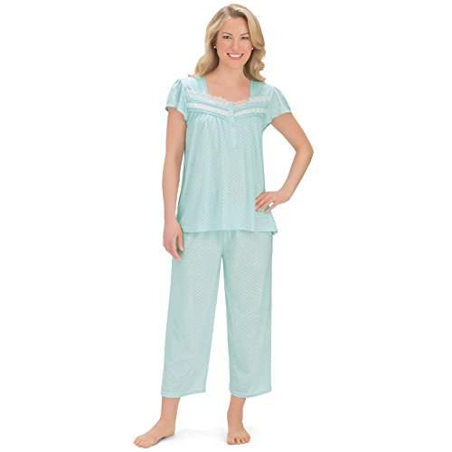 Women's Short Sleeve Pin Dot Capri Pajamas Set with Sweetheart Neckline, Mint, (Dot Capri Set)