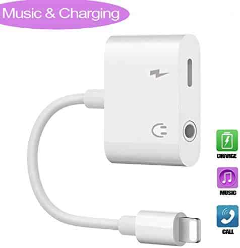 Jack Headphone Adaptor Charger Compatible with iPhone 8/8 Plus /7/7 Plus/iPhone X/XS/XS Max/XR Earphone Adapter Headphone Aux Audio & Connector Cable Support iOS 11 Later