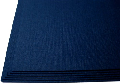 "100 Dark Navy Blue Linen 80# Cover Paper Sheets - 4"" X 4"" (4X4 Inches) Small Square Card Size - 80 lb/pound Card Weight - Fine Linen Textured Finish - Deep Dye Quality Cardstock Photo #3"