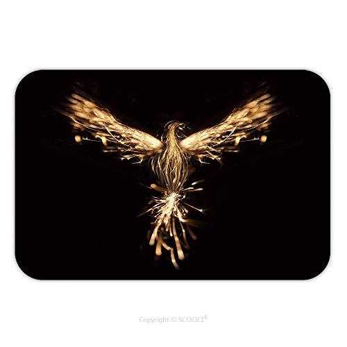 Flannel Microfiber Non-slip Rubber Backing Soft Absorbent Doormat Mat Rug Carpet Burning Bird Phoenix Isolated On Black Background 360122969 for - Phoenix Westgate