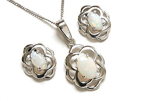 Celtique Avec opale Or Blanc 9 carats avec pendentif et boucles d'oreilles