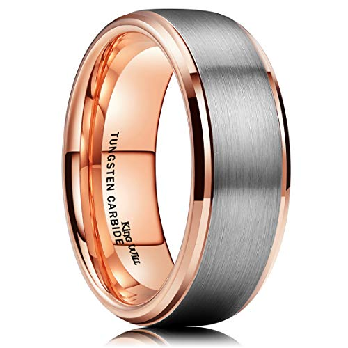 King Will Duo 8mm Tungsten Carbide Wedding Band for Men Rose Gold Plated Beveled Polished Comfort Fit 9.5 (Men S Wedding Rings)