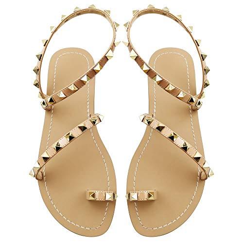 Women's Flat Sandals, Pyramid Studs Gladiator Sandals, Summer Nude Sandals, Gold Size 6 - Heel Gladiator Sandals
