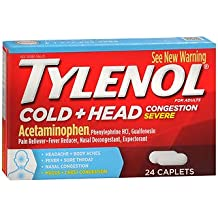 Tylenol Cold, Head Congestion, Severe, Caplets - 24 caplets, Pack of 5