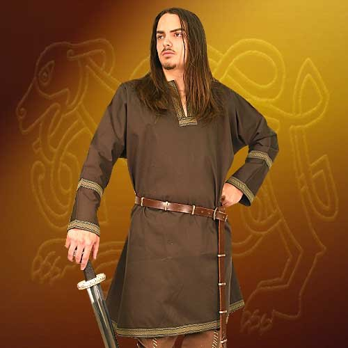 Cotton Viking Tunic Larp Medieval Halloween Costume (Brown, (Renaissance Sca Trim)