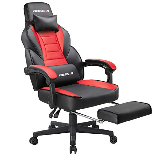 BOSSIN Racing Style Gaming Chair Computer Desk Chair with Footrest and Headrest Ergonomic Design Large Size High-Back E-Sports Chair PU Leather Swivel Office Chair (Red)