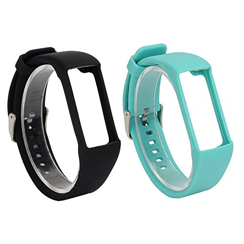 Cheap RuenTech 2Pcs for Polar A360 Replacement Bands, Soft Silicone Strap/Sport Wristband for Polar A360/ A370 Fitness Tracker (Black&Teal)