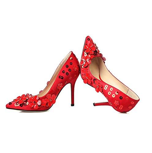 di poco Scarpe calzamaglia fiore calza delle profonda scarpe pattini donne tacchi le alti i da del partito del della YWNC sposa Red partito dei punta del pattino 34 a bocca v6O1wFdq