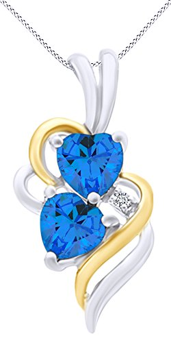 (AFFY Simulated Blue Topaz & White Cubic Zirconia Double Swirl Heart Two Tone Pendant Necklace in 14k White Gold Over Sterling Silver )