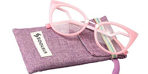 SOOLALA Womens 53mm Lens Vintage Unique Ladder Arm Cat Eye Reading Glass, Pink, - Pink Eye Cat