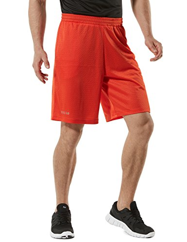 TSLA TM-MBS02-ORG_3X-Large Men's Cool Mesh Basketball Shorts Smooth HyperDri with Pockets MBS02