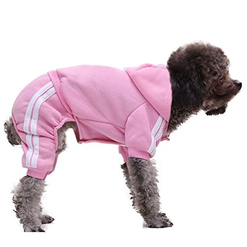 DULEE Pet Dog Cat Clothes Coat Puppy Hoodie Soft Cotton Warm Sweatshirt Black XS,Rosa L