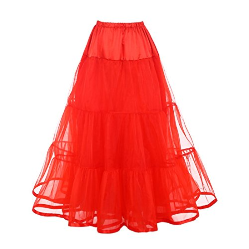Petticoat Puffy Netting Bridal Tulle Skirts (S/M, Red)