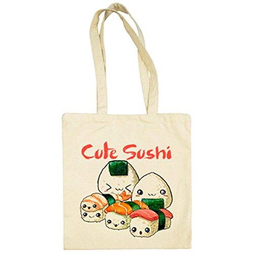 Cute Chibi Parodia De Tela Bolsa Beige Sushi Kawaii w6IRn4q