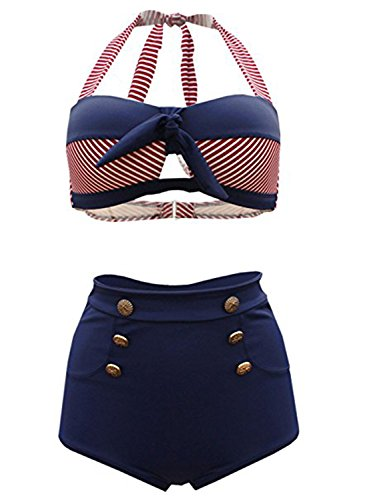 Futurino Women's Halter Bow Tie Front Retro Nautical Sailor High Waist Bikini Swimsui Set Retro Vintage Tie