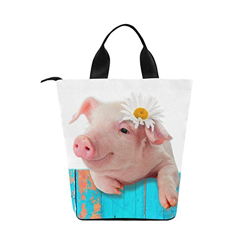 InterestPrint Funny Piglet with Flower Nylon Cylinder Lunch Bag Tote Shopping Handbag, Cute Pig Piggy Reusable Large Lunchbox Grocery Bag - Cylinder Tote Purse