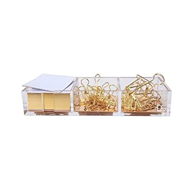 Clarity Gold Notes Holder with Cube Memo Pad 320 Sheets, Acrylic 3 in 1 Drawer Organizer by Draymond Story (Clips Sold Separately) - Xmas Gift Stationery Series