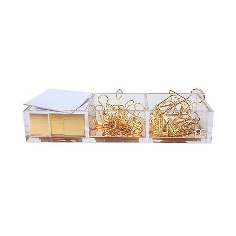 Cube Paper Holder - Clarity Gold Notes Holder with Cube Memo Pad 320 Sheets, Acrylic 3 in 1 Drawer Organizer by Draymond Story (Clips Sold Separately) - Gold Stationery Series