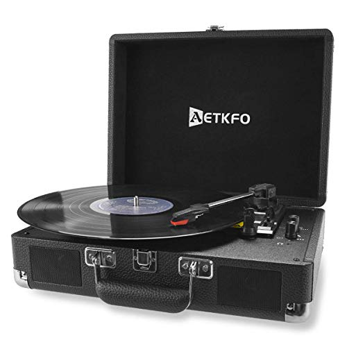 AETKFO Record Player Bluetooth 3-Speed Vinyl Turntable Built in 2 Stereo Speakers,Aux/USB-in, Headphone Jack and RCA Output,Portable Suitcase(Black)