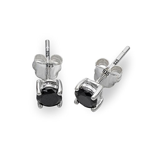 EleQueen 925 Sterling Silver Cubic Zirconia 4-Prong Unisex Solitaire Round Basket Set Stud Earrings Black (4 Prong Basket Set)